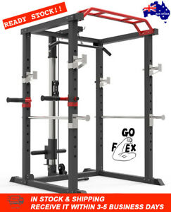 details about goflex pro power rack cage w lat pull down dip bar bench press squats home gym